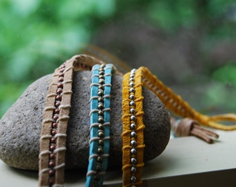 suede wrap bracelet set - mix and match in three colors of choice