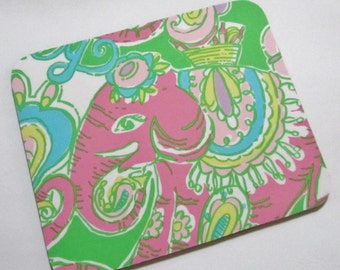 Fabric Mouse Pad Chin Chin made with Lilly Pulitzer Fabric