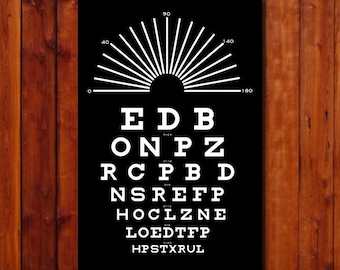 """Eye Chart Print. Typography Poster.  Vintage Art Poster. Gift. Black and White. Size 12""""x18"""""""