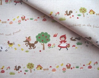 Japanese Fabric Kokka,Kawaii Fabric,Printed Canvas,Cotton Linen,Kids Fabric,Bag Fabric,Printed Linen/Little Red Riding Hood in Forest/a yard
