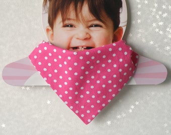 Reversible Baby Bandana Bib and Scarf - Polka dots Baby Girl Bandana