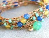 Bohemian crochet wrap bracelet, long necklace, boho chic, jewelry, mix, green, blue, lime, turquoise, sapphire OOAK