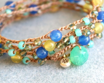 Bohemian crochet wrap bracelet, long necklace, boho chic, jewelry, mix, green, blue, lime, turquoise, sapphire OOAK