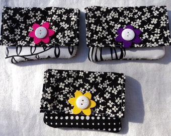 cotton wallet black and white modern with flower and glitter button
