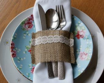 Burlap napkin holders - set of 12