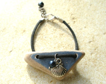 Scottish Sea Pottery Bracelet,  Blue Rustic Bracelet, Sea Shell Charm, Broken China Jewelry, Nature Bracelet, Scottish Jewelry, Beach glass