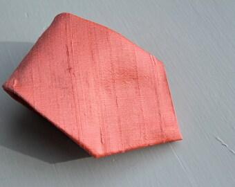 Men's Neckite in Coral Dupioni Silk