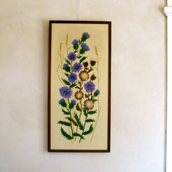 Vintage crewel embroidery wall hanging thistles by