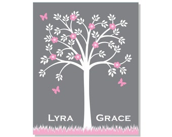 Children Giclee Art Print 8x10 Tree Kids Wall Art Nursery Decor Personalized Pink Grey