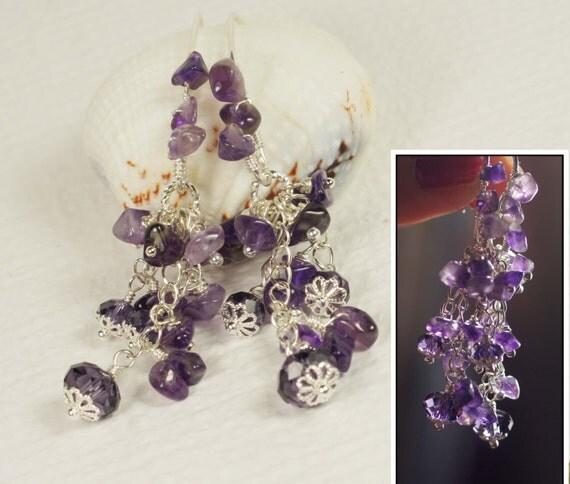Amethyst Chandelier Earrings Amethyst Gemstone Earrings Cascade Earrings