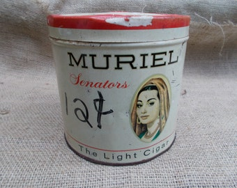 Cigar Tin, MURIEL Senators Cigar Can - from the 1950s