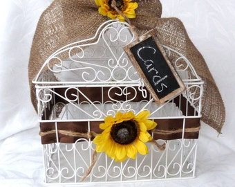 White wire Cage Wedding Card Holder sunflower wedding accessorie