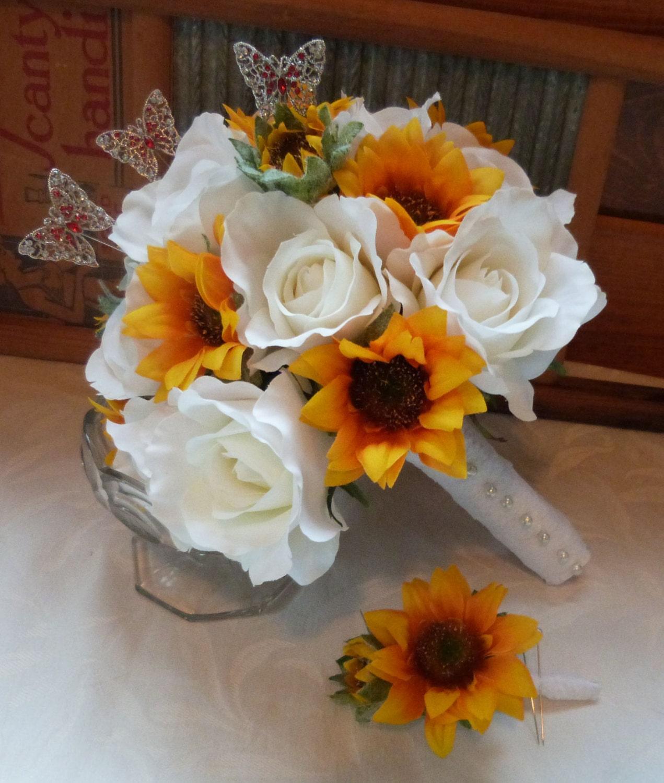 sunflower bridal bouquet sunflower roses wedding bouquet silk. Black Bedroom Furniture Sets. Home Design Ideas