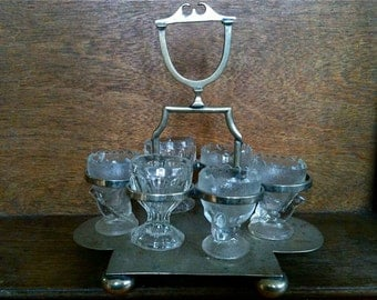 Antique English Glass Egg Cup or Goblet Shot Glass Holder circa 1940-50's / English Shop