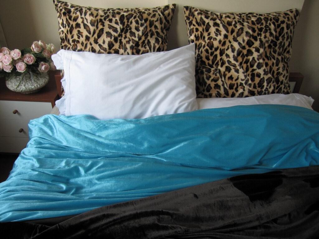 Turquoise Blue Velvet Duvet Cover Full Double Queen Cal