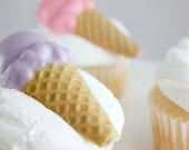12 Ice Cream Cone Chocolate Cupcake Toppers