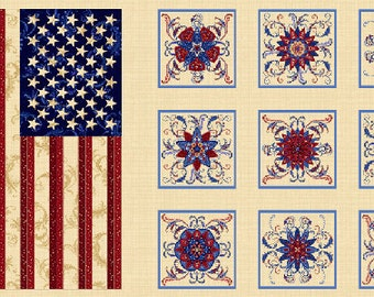 1 Flag and Quilt Block Panel from Freedom's Star by Color Principle for Henry Glass