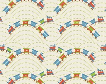 SALE 1 Yard of Scoot Trains in Cream by Deena Rutter for Riley Blake