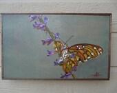 origianl oil painting wall art butterfly orange purple