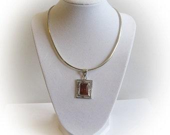 Elegant Sterling Silver Carnelian Square Cabachon Pendant