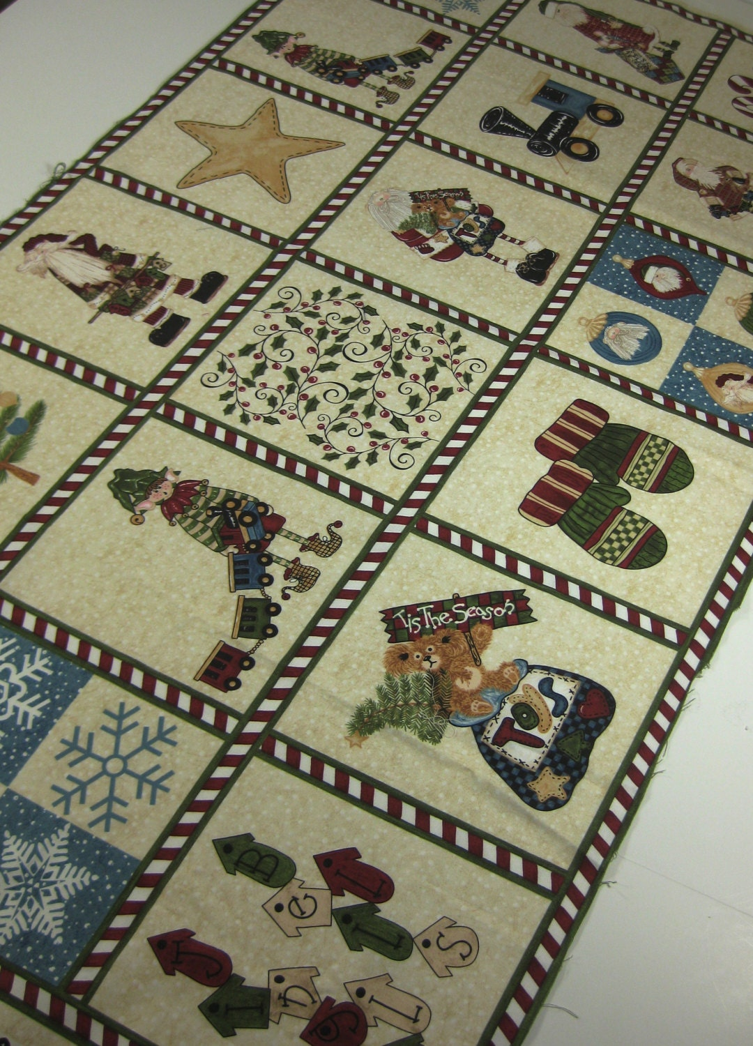 Fabric Panel Christmas Destash Quilt Squares Red And Green