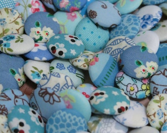 10 Fabric Covered Buttons - Blue - 2cm