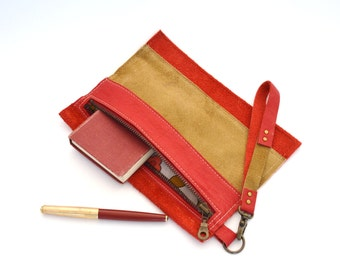 red and camel leather repurposed  zipper clutch - leather pencil pouch - repurposed leather wristlet - night out leather clutch