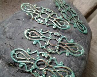 6pcs - Handmade Faux Patina Verdigris Copper Finish Art Nouveau Style Oblong Oval Filigree Connector Wrap Setting - 39x15mm(F005)