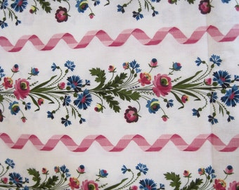 "Gorgeous Vintage French Unused Romanex de Boussac ""Guirlandes"" Fabric Sold By The Yard C1970"