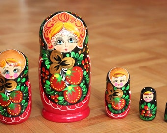 SALE Nesting Dolls With strawberries Babushka dolls in red set of 5 Clearance Sale