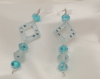 Aqua Blue Sterling Silver and Crystal Earrings