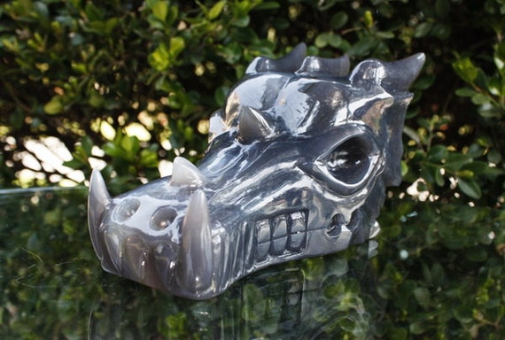 "PERFECT Giant 6.6"" Natural Grey Agate Carved Crystal Dragon Skull 2.25 LB C0167"