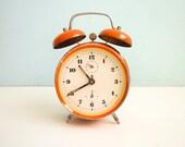 Vintage Orange Alarm Clock twin bells manual wind up