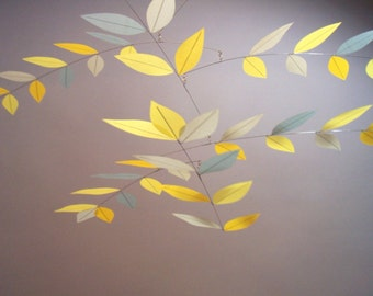 Mobile in Modern Colors Lemon Biscotti Gold Yellow Tree Leaf Mobile