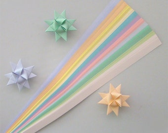 Pastel Mix Paper Strips (11 colors)  for making Moravian German Froebel Stars - various sizes (100 strips per pack)