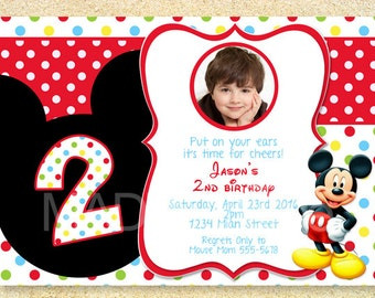 Mickey Mouse Birthday Invitation, Photo card, Birth Announcement, Baby Shower Invitation.