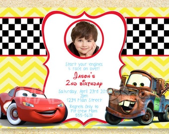 Cars Birthday Invitation, Disney Photo card, Lightning McQueen, Mater, Birth Announcement,