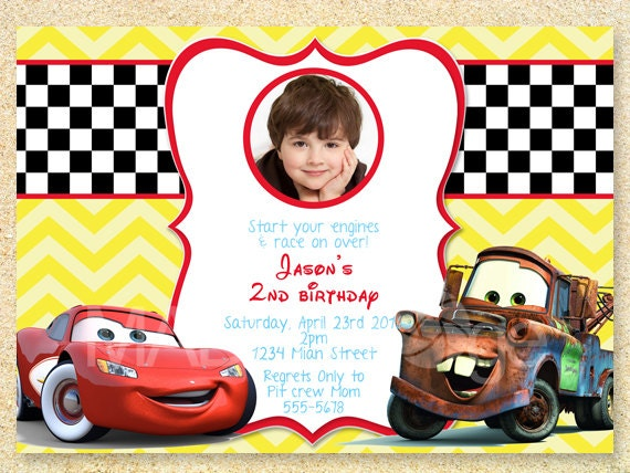 Cars Invitation Card Template Free: Cars Birthday Invitation Disney Photo Card Lightning