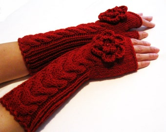 RED LONG Fingerless Gloves, Merino Wool Mittens, Arm Warmers with a cable pattern, Hand Knitted, Eco Friendly