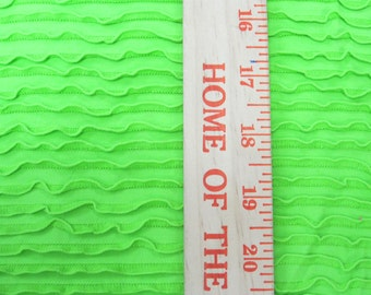 Amazing Lime Green Ruffle Fabric Nylon Spandex Knit Fabric Swim Gym Pageant