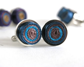 Cufflinks unisex, textile cuff links, fabric cuff links blue, gift for men, gift for him - Accessory for men and women ready to ship