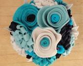 RESERVED- Felt Flower Bouquet in Mason Jar- Floral Arrangement- Blue White-Spring- Summer-  Wedding -Bridesmaid- Gift