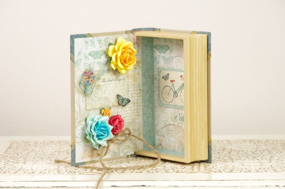 Ring Bearer Book with Vintage Bike and Flowers - Blue and Ivory details