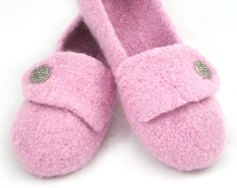 Blossom Pink Womens Felted Wool Slippers