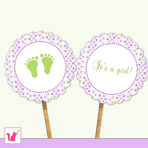 INSTANT DOWNLOAD Printable Purple Green Polka Dots Its A Girl
