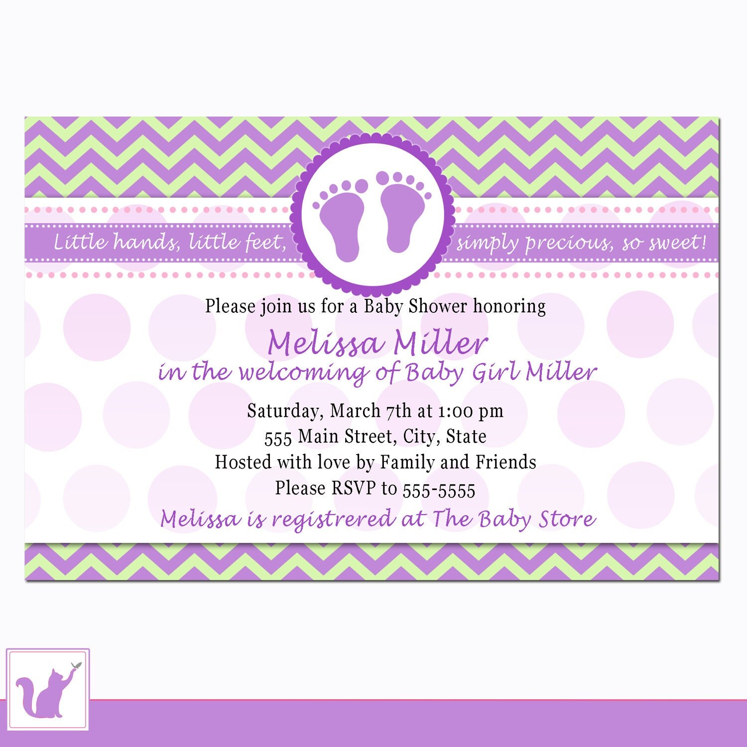 purple baby shower invitation card baby feet by pinkthecat