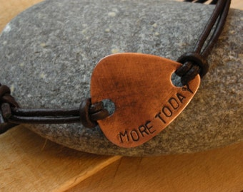 Mens Copper Guitar Pick Leather Bracelet-Custom Handstamped Personal Message-Fathers Day,Boyfriend,Groomsmen, Anniversary