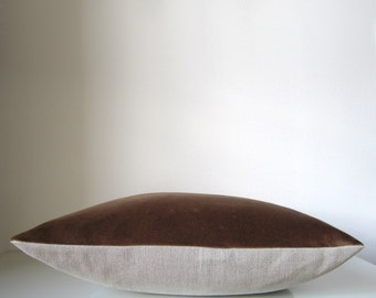 Velvet throw pillow: caramel brown velvet and natural linen, eco friendly modern home decor pillow cover, velvet pillow