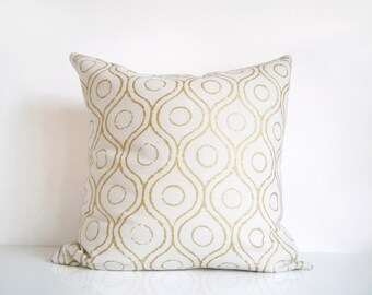 Ivory and gold pillow, metallic gold print on cream silk cushion cover, gold throw pillow cover
