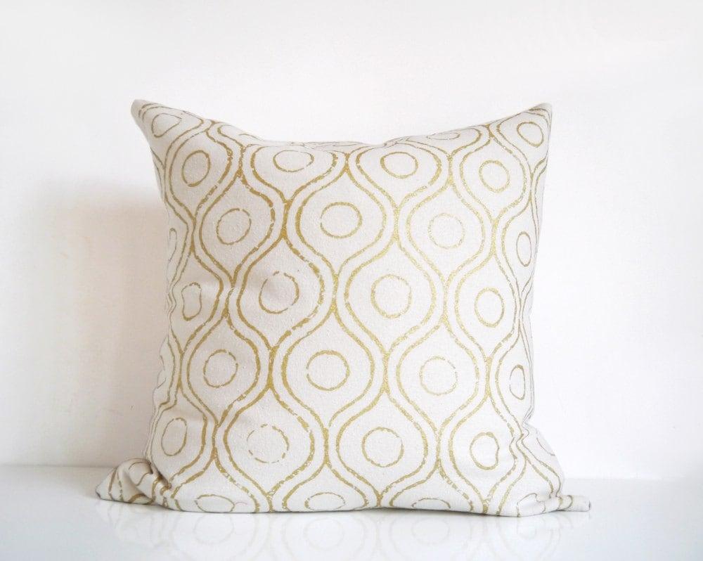 Throw Pillows Cream : Ivory and gold pillow metallic gold print on cream silk